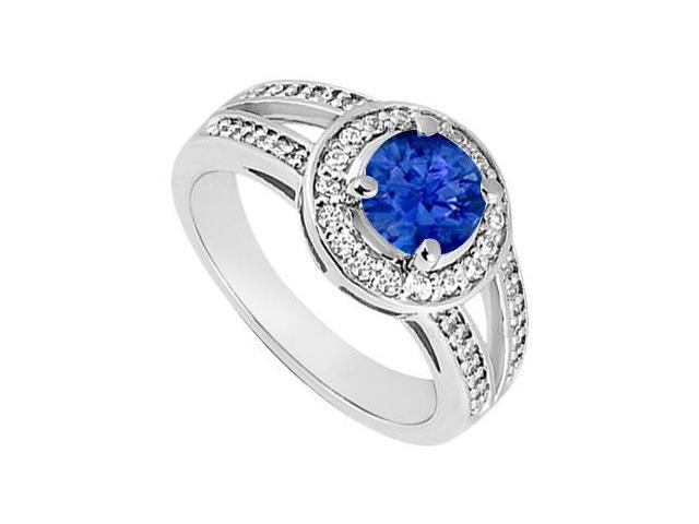 Sapphire and Diamond Engagement Ring  14K White Gold 1.50 CT TGW