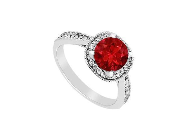 Halo Engagement Ring of Diamonds and Natural Ruby in White Gold 14K Total Gem Weight 1.05 Carat