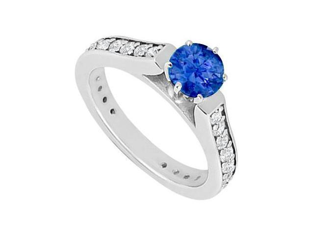 September Birthstone Created Sapphire and CZ Engagement Rings 14kt White Gold 1.ct.TGW