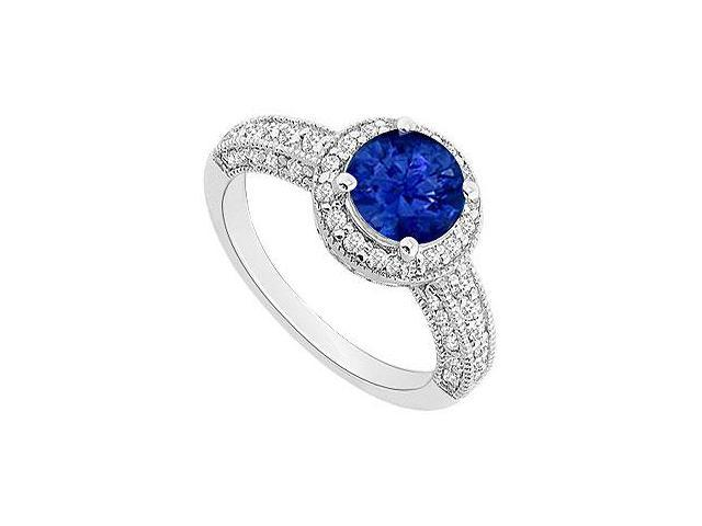September Birthstone Created Sapphire and CZ Halo Engagement Rings 14kt White Gold 1.55.ct.tgw