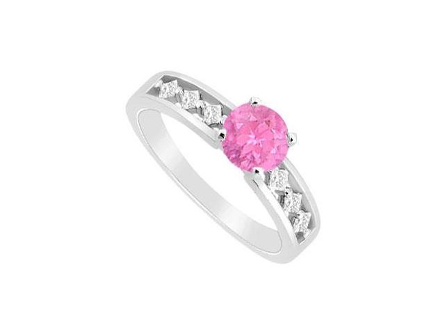 September Birthstone Created Pink Sapphire and CZ Engagement Ring 14K White Gold 0.75.ct.tgw