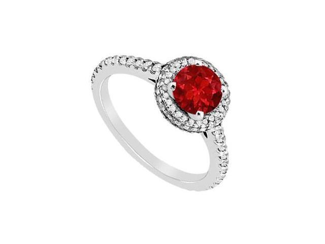 Natural Ruby and Diamond Halo Engagement Ring in White Gold 14K Total Gem Weight of 1.35 Carat
