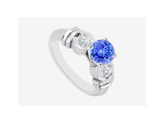 Tanzanite Engagement Ring in 14K White Gold with Bezel set Cubic Zirconia TGW 1.40 Carat