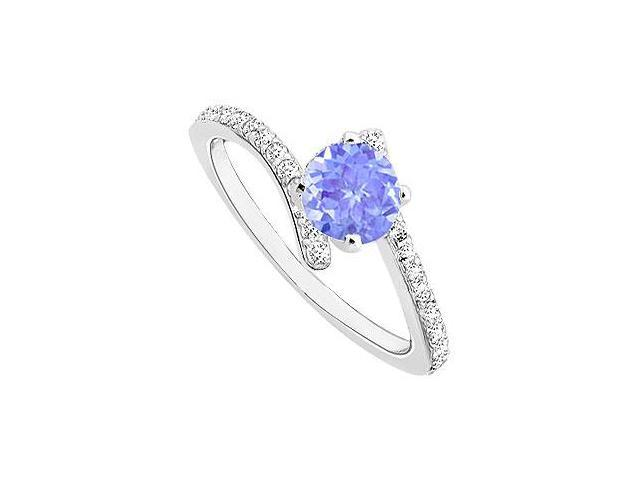 Tanzanite and Diamond Engagement Ring  14K White Gold - 0.50 CT TGW