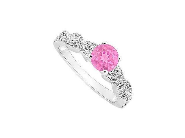 September Birthstone Created Pink Sapphire and CZ Engagement Ring in 14K White Gold 0.50.ct.tgw