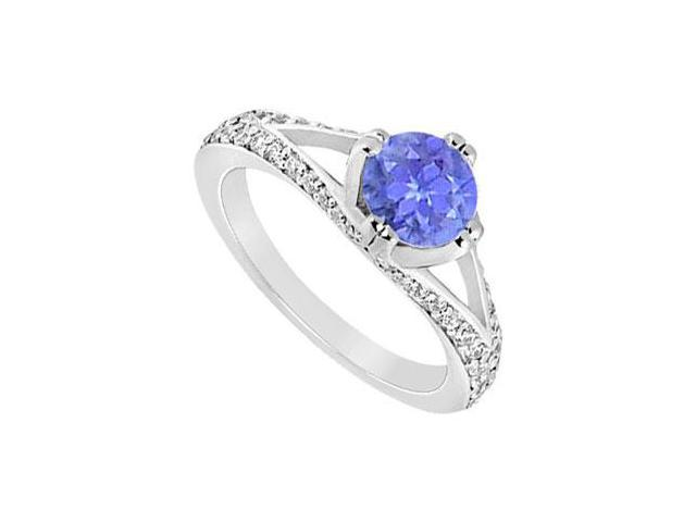 December Birthstone Created Tanzanite Split Shank Engagement Rings in 14K White Gold 1.00 ct.tgw