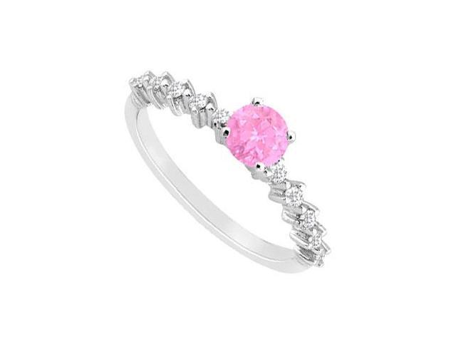 Created Pink Sapphire and Cubic Zirconia Engagement Ring in 14kt White Gold 0.75.ct.tgw