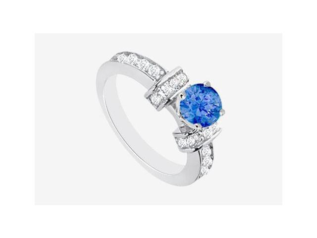Diffuse Sapphire Engagement Ring with 1 carat center in 14K White Gold Cubic Zirconia 2.10 Carat