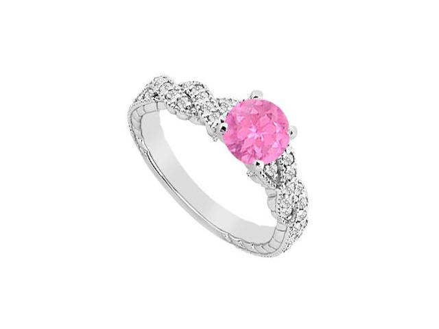 Brilliant Cut Diamond and Pink Sapphire Engagement Ring in 14K White Gold 0.75 Carat TGW