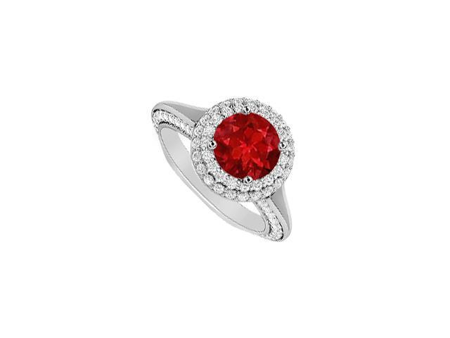 Halo Diamond and Natural Ruby Engagement Ring in 14K White Gold 2 Carat Total Gem Weight