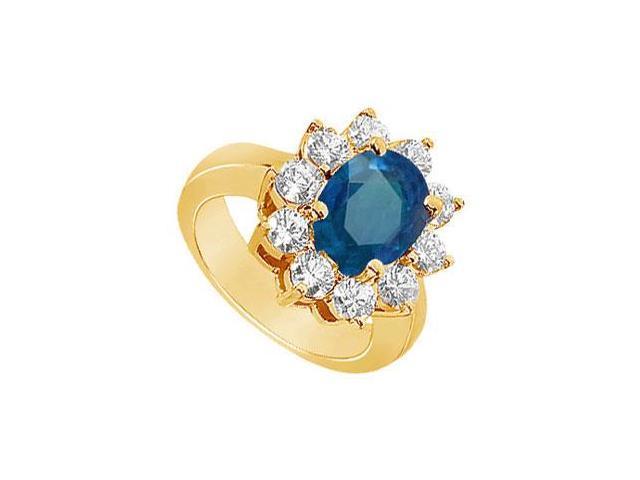 Sapphire and Diamond Engagement Ring  14K Yellow Gold - 2.50 CT TGW