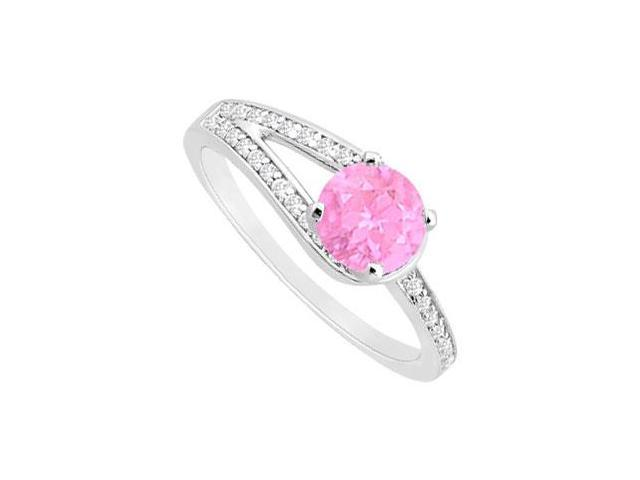 Created Pink Sapphire and Cubic Zirconia Motif Engagement Ring in 14K White Gold 0.75 ct.tgw