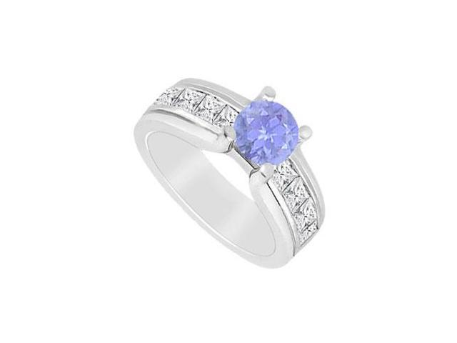 Diamond Princess cut and Natural Tanzanite Engagement Ring in 14K White Gold 2.00 CT TGW
