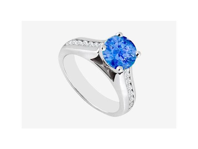 Diffuse Sapphire Engagement Ring with Channel Set Cubic Zirconia in 14K White Gold 2.60 Carat TG