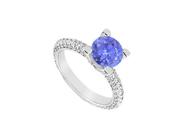 December Birthstone Created Tanzanite and CZ Engagement Ring in 14K White Gold 1.50 ct.tgw