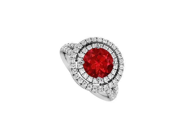 14K White Gold Diamond and Natural Ruby Halo Engagement Ring 2 Carat Total Gem Weight