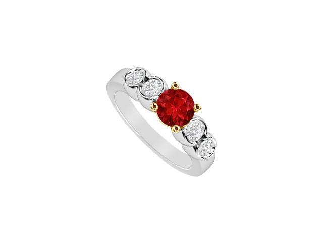 5 Stone Ring Diamond and Natural Ruby 1 CT in 14K Two Tone White and Yellow Gold Engagement Ring