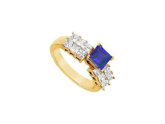 Sapphire and Diamond Engagement Ring  14K Yellow Gold - 1.75 CT TGW