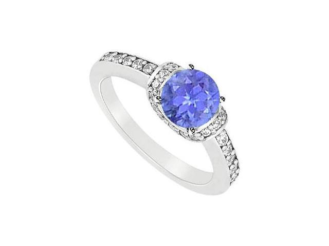 December Birthstone Created Tanzanite and Cubic Zirconia Engagement Rings in 14K White Gold