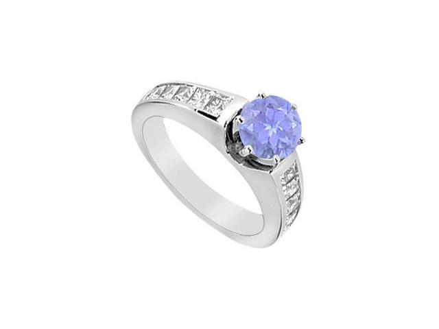 Prong Set Tanzanite Engagement Ring Diamond Channel Set in 14K White Gold 1.50 Carat TGW
