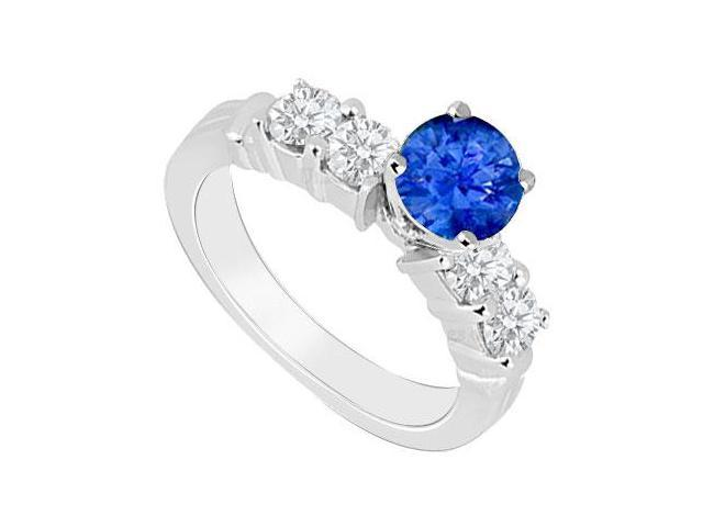 14K White Gold  Sapphire and Diamond Engagement Ring 0.90 CT TGW