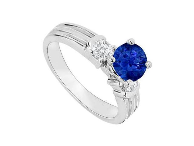 14K White Gold  Sapphire and Diamond Engagement Ring 0.75 CT TGW