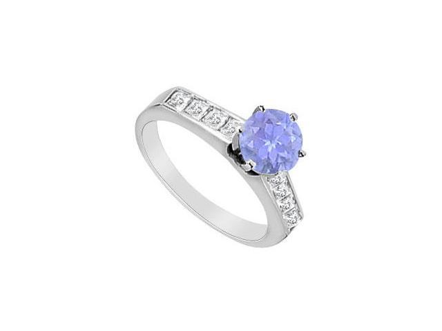 Engagement Ring Tanzanite and Diamond Channel Set in 14K White Gold 1.10 Carat TGW