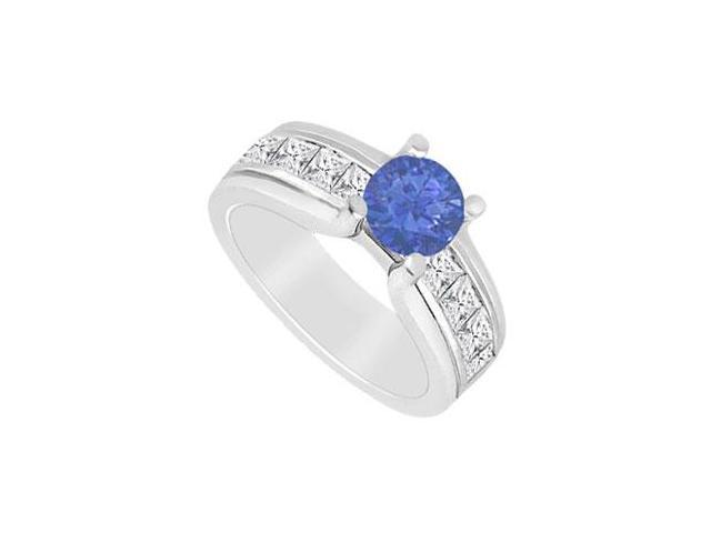 Sapphire and Diamond Channel set Engagement Ring in 14K White Gold 2.00 Carats TDW