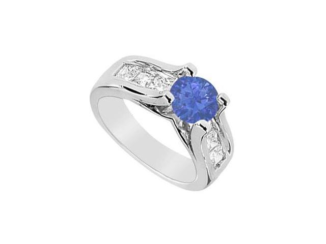 Princess Cut Diamond and Natural Sapphire Engagement Ring in 14K White Gold 2.25 Carat TGW
