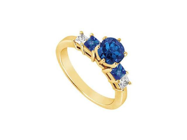 Diamond and Sapphire Engagement Ring  14K Yellow Gold - 1.50 CT TGW