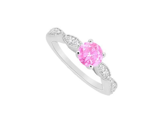 Pink Sapphire and Round CZ Engagement Ring with Prong Set in 14K White Gold 1.25 Carat TGW