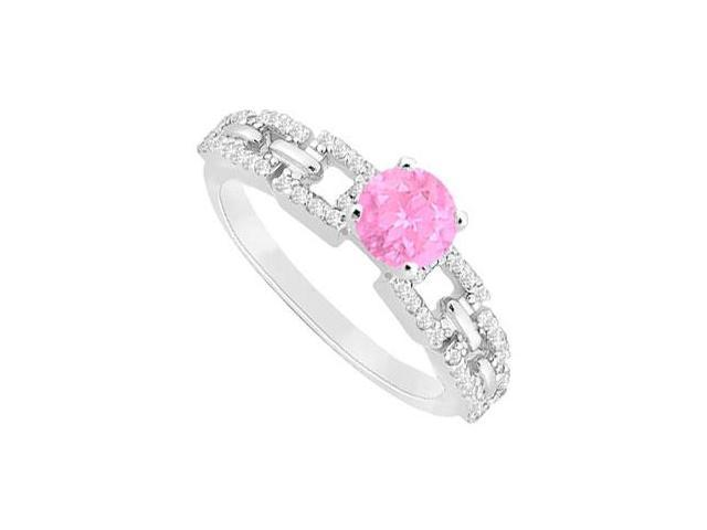 September Birthstone Created Pink Sapphire  CZ Engagement Ring 14K White Gold 0.75 ct.tgw