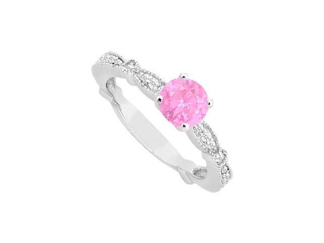September Birthstone Created Pink Sapphire  CZ Milgrain Engagement Ring 14K White Gold .75ct.tw