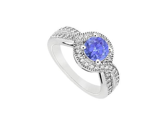 December Birthstone Created Tanzanite and CZ Halo Engagement Rings in 14K White Gold 1.00.ct.tgw