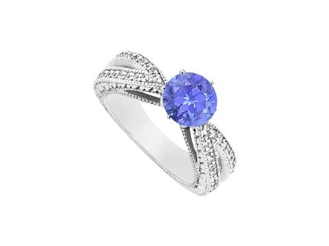 December Birthstone Created Tanzanite and CZ Motif Engagement Ring 14K White Gold 1.50 ct.tgw