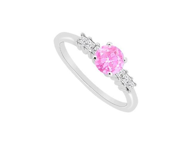 Cubic Zirconia and Pink Sapphire Engagement Ring in 14K White Gold with 1.10 Carat TGW