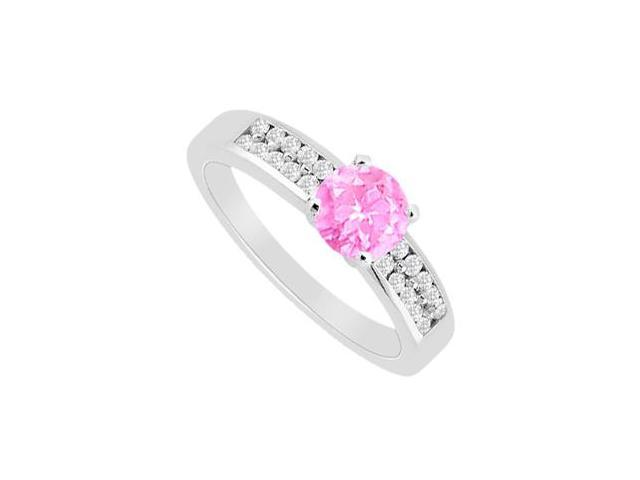 Engagement Ring Pink Sapphire with Channel Set Cubic Zirconia in 14K White Gold 1.25 Carat TGW