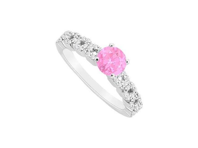 September Birthstone Created Pink Sapphire  and CZ Engagement Ring in 14K White Gold 0.75 ct.tg