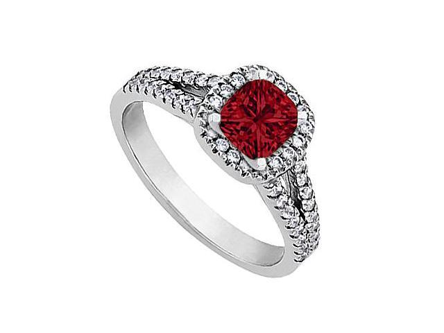 1 Carat CZ and Created Ruby Engagement Ring in White Gold 14K