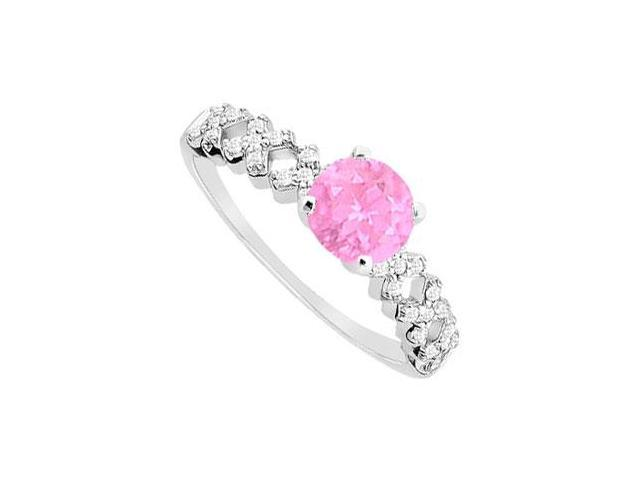 Sepetember Birthstone Created Pink Sapphire  CZ Engagement Ring in 14K White Gold 0.75.ct.tgw