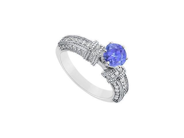 December Birthstone Round Created Tanzanite and CZ Filigree Engagement Rings 14K White gold
