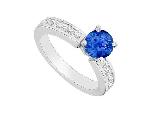 Engagement Rings with Created Sapphire and Cubic Zirconia in 14K White Gold 0.80.ct.tgw