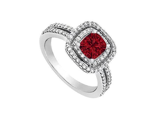 Created Ruby Engagement Ring with CZ in 14K White Gold 1.20 Carat Total Gem Weight