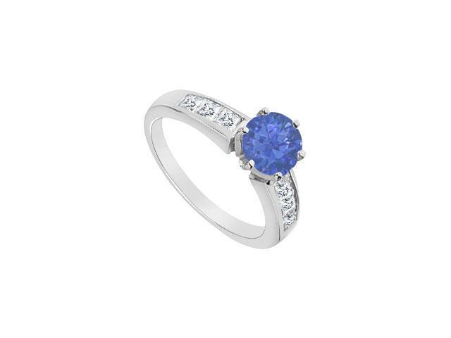 14K White Gold Diamond and Natural Sapphire Engagement Ring with 1.05 Carat TGW