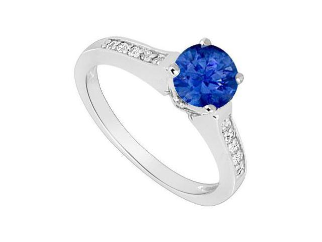 14K White Gold  Sapphire and Diamond Engagement Ring 0.60 CT TGW