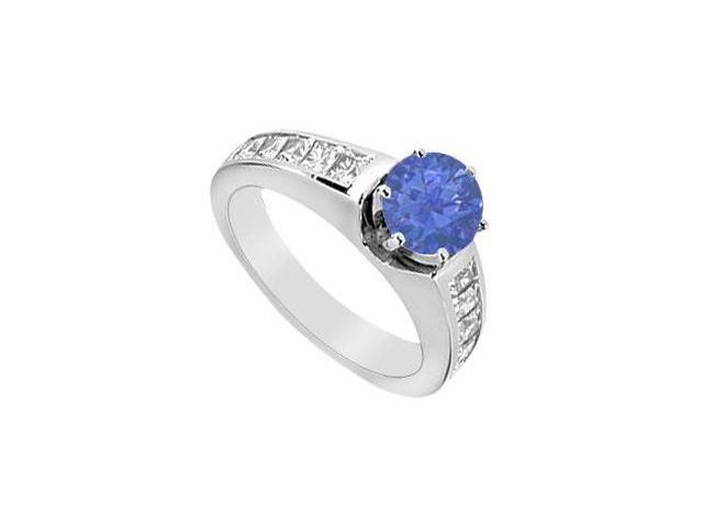 Natural Sapphire Engagement Ring with Princess Cut Diamonds 1.50 Carat TGW in 14K White Gold