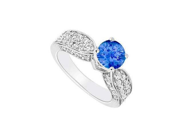 14K White Gold  Sapphire and Diamond Engagement Ring 1.50 CT TGW