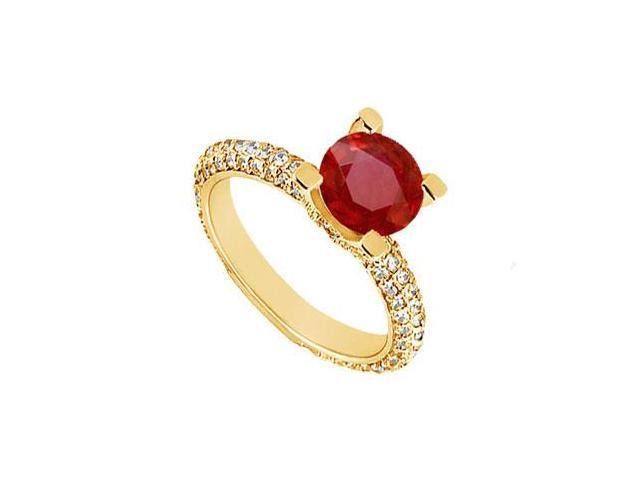 Ruby and Diamond Engagement Ring  14K Yellow Gold - 1.50 CT TGW