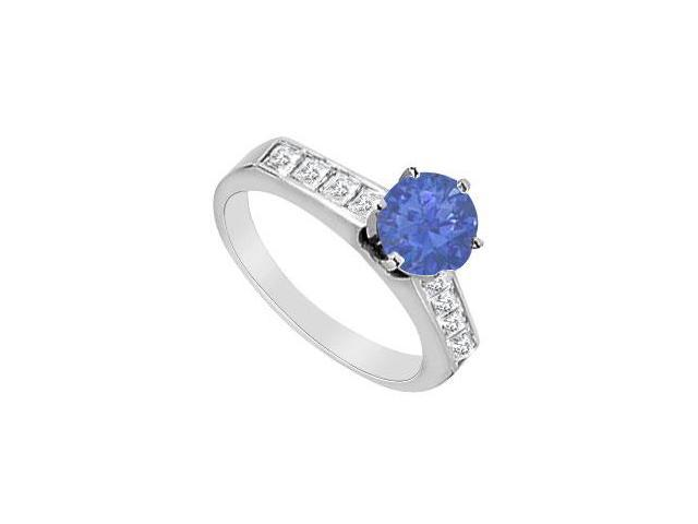 14K White Gold Natural Sapphire and Diamond Princess Cut Engagement Ring with 1.10 Carat TGW