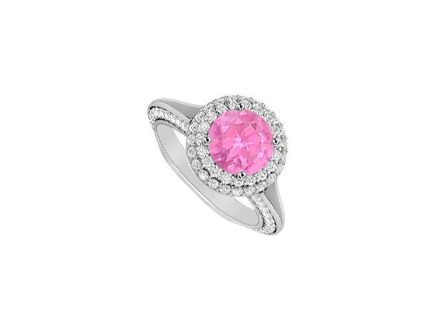 Two Carat Diamonds and Pink Sapphire 14K White Gold Engagement Ring